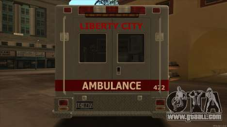 Ambulance HD from GTA 3 for GTA San Andreas right view