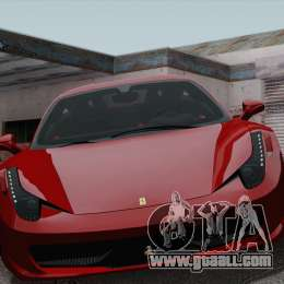 Ferrari 458 Italia 2010 for GTA San Andreas inner view