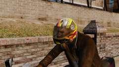 A collection of helmets Arai v1