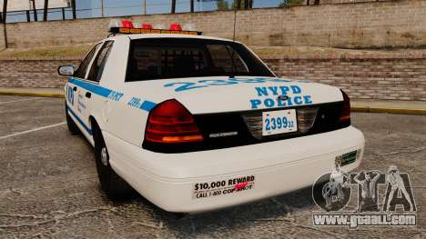 Ford Crown Victoria 1999 NYPD for GTA 4 back left view