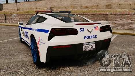 Chevrolet Corvette C7 Stingray 2014 Police for GTA 4 back left view