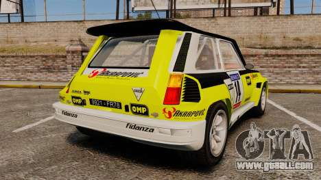 Renault 5 Turbo Maxi for GTA 4 back left view