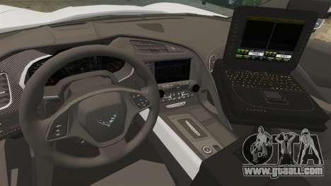 Chevrolet Corvette C7 Stingray 2014 Police for GTA 4 back view