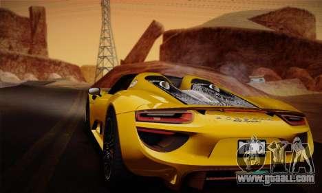 Porsche 918 Spyder 2014 for GTA San Andreas interior