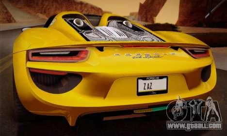 Porsche 918 Spyder 2014 for GTA San Andreas wheels