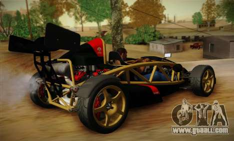 Ariel Atom 500 2012 V8 for GTA San Andreas back left view