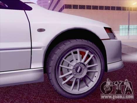 Mitsubishi Lancer Evo IX MR Edition for GTA San Andreas back left view