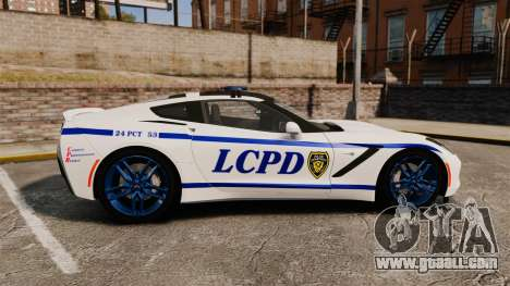Chevrolet Corvette C7 Stingray 2014 Police for GTA 4 left view