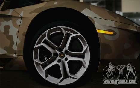 Lamborghini Aventador LP 700-4 Camouflage for GTA San Andreas back left view
