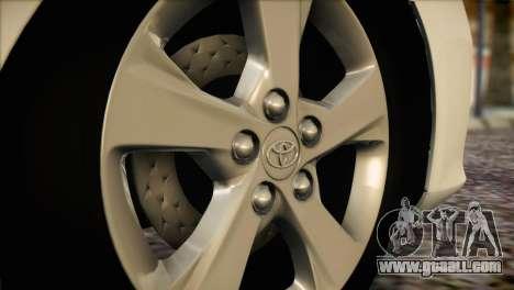 Toyota Corolla 2012 for GTA San Andreas back view