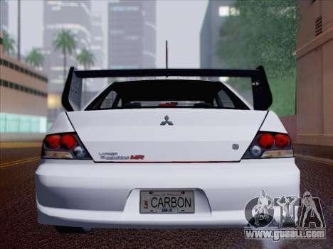 Mitsubishi Lancer Evo IX MR Edition for GTA San Andreas bottom view
