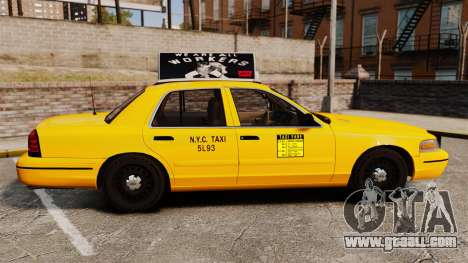 Ford Crown Victoria 1999 NY Old Taxi Design for GTA 4 left view