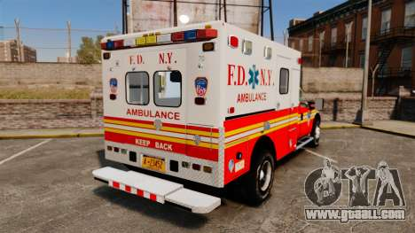 Ford F-350 2013 FDNY Ambulance [ELS] for GTA 4 back left view