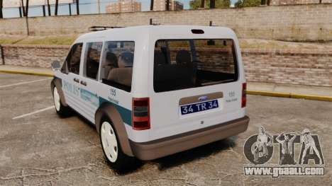 Ford Transit Connect Turkish Police [ELS] for GTA 4 back left view