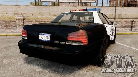GTA V Vapid Steelport Police Cruiser [ELS] for GTA 4 back left view