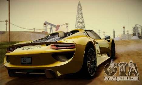 Porsche 918 Spyder 2014 for GTA San Andreas inner view