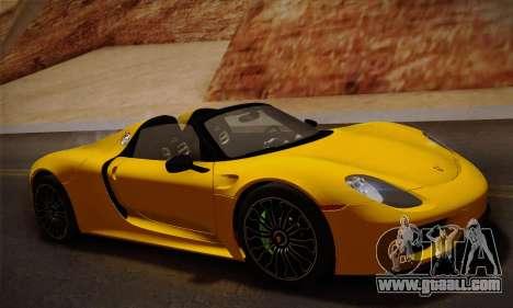Porsche 918 Spyder 2014 for GTA San Andreas left view