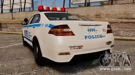 GTA V Police Vapid Interceptor NYPD for GTA 4 back left view