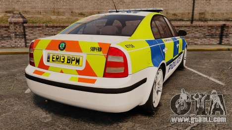 Skoda Superb 2006 Police [ELS] Whelen Justice for GTA 4 back left view