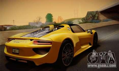 Porsche 918 Spyder 2014 for GTA San Andreas bottom view