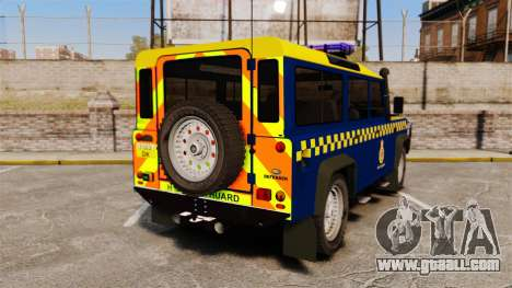 Land Rover Defender HM Coastguard [ELS] for GTA 4 back left view