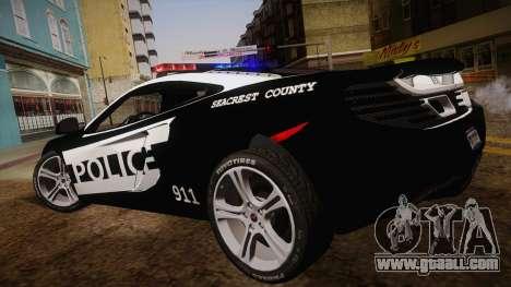 McLaren MP4-12C Police Car for GTA San Andreas left view