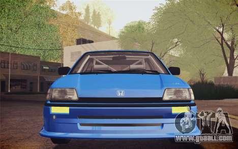 Honda Civic S 1986 IVF for GTA San Andreas inner view