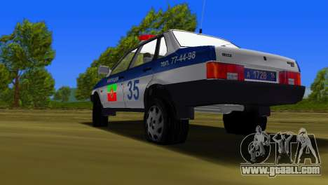 VAZ 21099 Militia for GTA Vice City back view