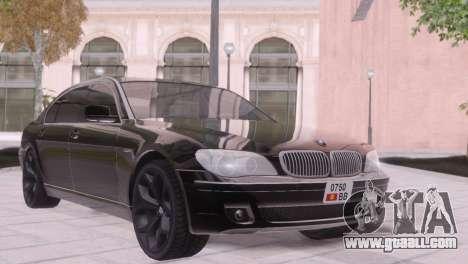 BMW 750Li E66 for GTA San Andreas inner view