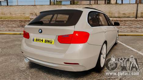 BMW 330d Touring (F31) 2014 Unmarked Police ELS for GTA 4 back left view