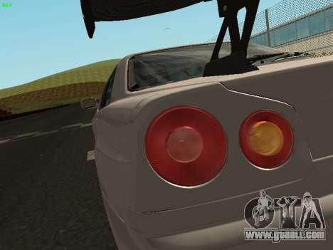 Nissan Skyline BNR34 for GTA San Andreas back view