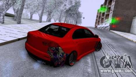 Mitsubishi Lancer X for GTA San Andreas right view