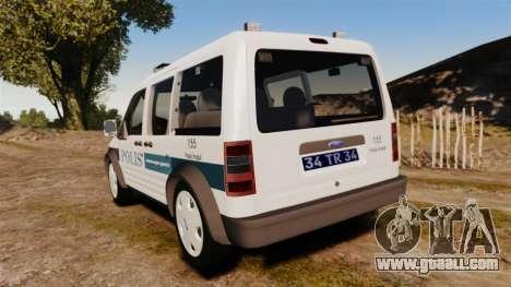 Ford Transit Connect Turkish Police [ELS] v2.0 for GTA 4 back left view