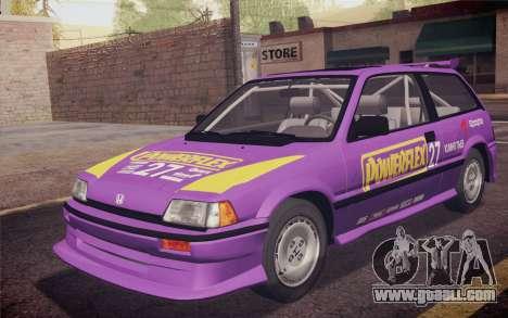 Honda Civic S 1986 IVF for GTA San Andreas interior