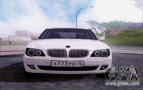 BMW 760Li E66 for GTA San Andreas back view