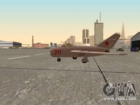 MiG 15 Bis for GTA San Andreas left view