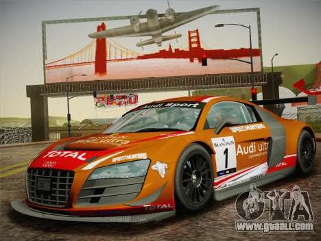 Audi R8 LMS Ultra W-Racing Team Vinyls for GTA San Andreas side view