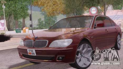 BMW 750Li E66 for GTA San Andreas back left view