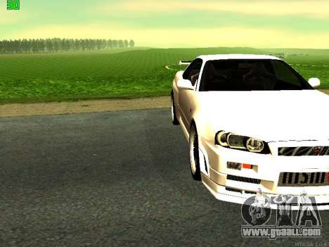 Nissan Skyline R34 GT-R for GTA San Andreas back left view
