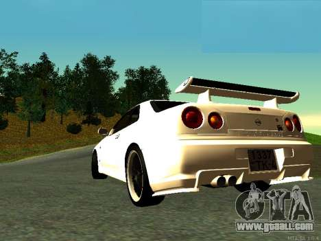 Nissan Skyline R34 GT-R for GTA San Andreas left view
