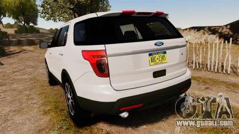 Ford Explorer Sport 2014 for GTA 4 back left view