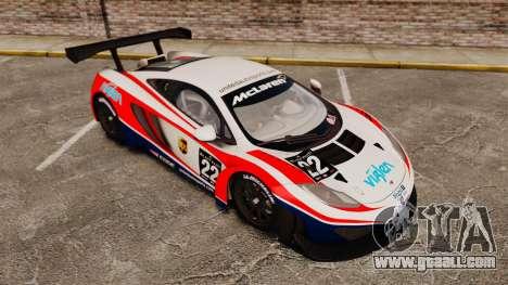 McLaren MP4-12C GT3 (Updated) for GTA 4 upper view