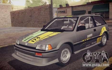 Honda Civic S 1986 IVF for GTA San Andreas engine
