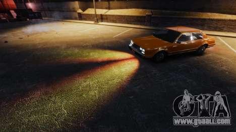 The fiery light of headlights for GTA 4