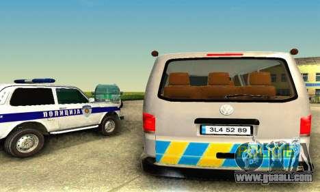 Volkswagen Transporter Policie for GTA San Andreas back left view