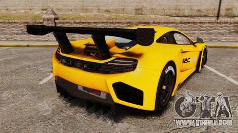 McLaren MP4-12C GT3 (Updated) for GTA 4 back left view