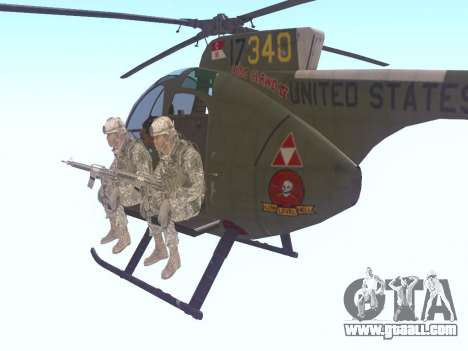 OH-6 Cayuse for GTA San Andreas back left view