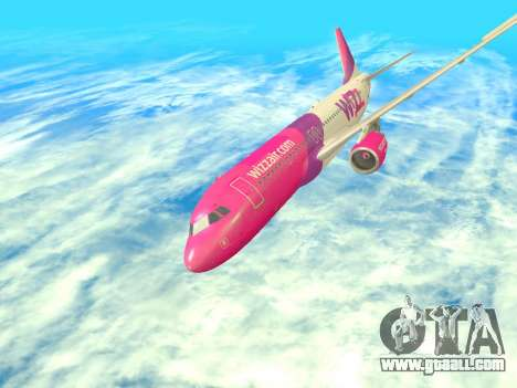 Airbus A320-200 WizzAir for GTA San Andreas upper view