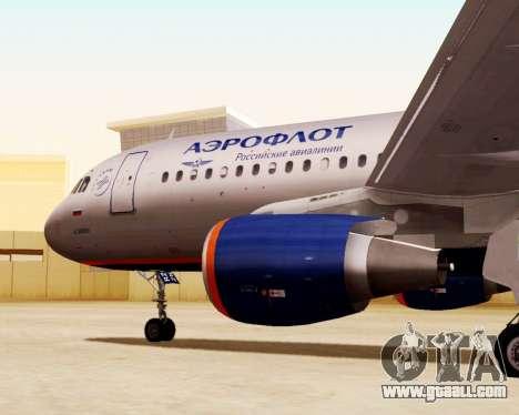 Airbus A320-200 Aeroflot for GTA San Andreas right view