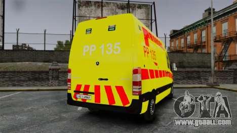 Mercedes-Benz Sprinter Finnish Ambulance [ELS] for GTA 4 back left view